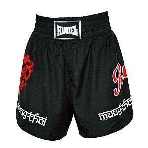 Shorts de Muay Thai MT 04 Coração Valente Preto Rudel Sports Tamanho GG