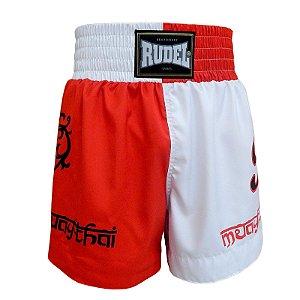 Shorts de Muay Thai MT 04 Coração Valente Branco e Vermelho Rudel Sports Tamanho GG