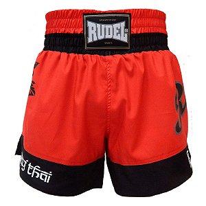 Shorts de Muay Thai Femino Vermelho Rudel Sports Tamanho P