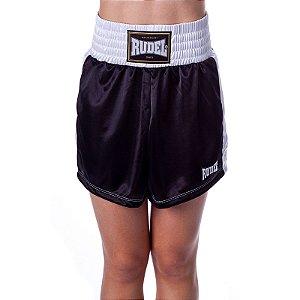 Shorts de Boxe Feminina Classic Preto Rudel Sports Tamanho M