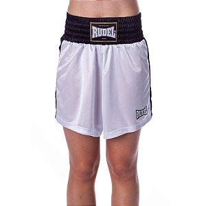 Shorts de Boxe Feminina Classic Branco Rudel Sports Tamanho P