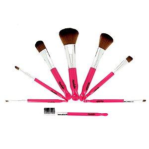 Kit com 8 Pincéis Para Maquiagem  Rosa Mandala