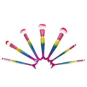 Kit 7 Pincéis Para Maquiagem Sortidos Sereia Mermaid Multicolorido