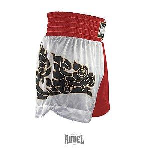 Shorts de Muay Thai MT 08 Dragon II Vermelho e Branco Rudel Sports Tamanho P