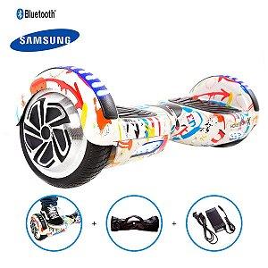 """Hoverboard 6,5"""" Grafite HoverboardX Bateria Samsung Bluetooth Smart Balance Com Bolsa"""