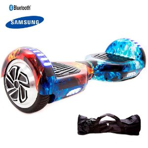 Hoverboard Smart Balance Whell 6.5 Polegadas Estampa Fogo Com Bluetooth, Led Frontal E Mochila