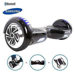 "Hoverboard 6,5"" Preto HoverboardX USA Bateria Samsung Bluetooth Smart Balance Com Bolsa"
