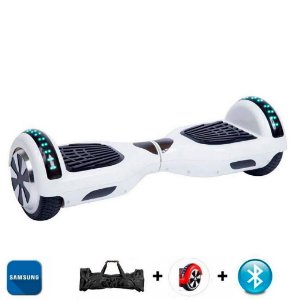Hoverboard Smart Balance Whell 6.5 polegadas Branco com Bluetooth , Led frontal e lateral e mochila