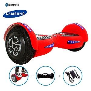 """Hoverboard 8"""" Vermelho Fosco Hoverboard Bateria Samsung Bluetooth Smart Balance Com Bolsa"""