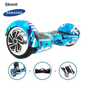 """Hoverboard 6,5"""" Azul Militar HoverboardX USA Bateria Samsung Bluetooth Smart Balance Com Bolsa"""