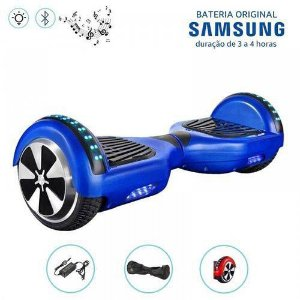 Hoverboard Smart Balance Whell 6.5 polegadas Azul com Bluetooth, Led frontal e lateral e mochila