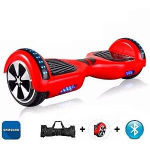 """Hoverboard 6.5"""" Vermelho Bluetooth Bateria Samsung"""