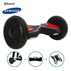 "Hoverboard 10,5"" Preto Fosco HoverboardX Bateria Samsung Bluetooth Smart Balance Com Bolsa"
