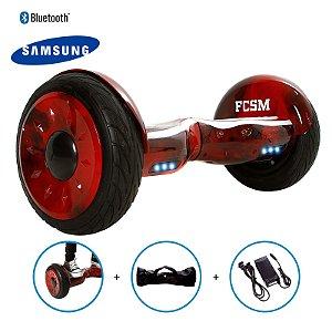"""Hoverboard 10,5"""" Vermelho Hoverboard Bateria Samsung Bluetooth Smart Balance Com Bolsa"""