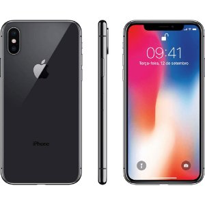 "iPhone X Cinza Espacial 64GB Tela 5.8"" IOS 11 4G Wi-Fi Câmera 12MP - Apple"