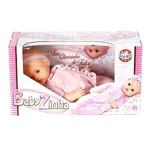 Boneca Tipo Bebê Reborn Babyzinha Com Cheirinho De Talco Com 5 Acessórios