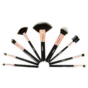 Kit com 9 Pincéis Para Maquiagem  Rosa Gold Mandala