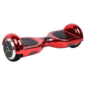 """Hoverboard 6,5"""" Vermelho Cromado Hoverboardx USA Bateria Samsung Bluetooth Smart Balance Com Bolsa"""