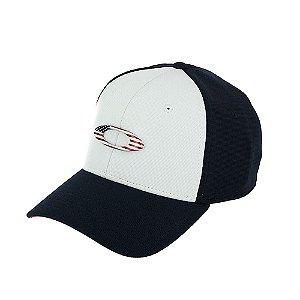 Boné Oakley Tincan Cap Azul Marinho e Branco Com Logo Usa