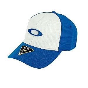 Boné Oakley Tincan Cap Azul e Branco Com Logo Azul