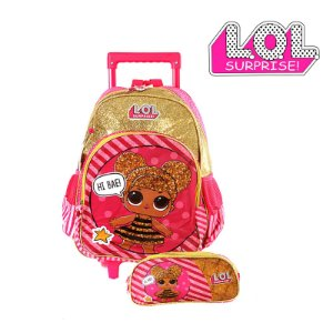Kit Mochila Infantil Escolar Lol Surprise Glitter Com Rodinha