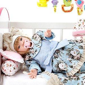 Boneca Bebe Reborn Lavinia Azul Bebe Cegonha Reborn Dolls Mais 22 Acessórios 53cm - PR