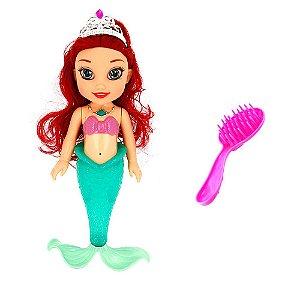 Brinquedo Boneca Princesa Ariel Pequena Sereia Musical Led Com Acessórios