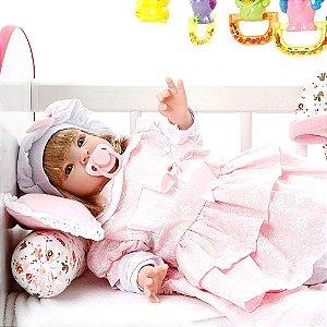 Boneca Bebe Reborn Monalisa Floral Cegonha Reborn Dolls Mais 22 Acessórios 53cm