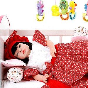 Boneca Bebe Reborn Balone Vermelho Cegonha Reborn Dolls Com 22 Acessórios 53cm