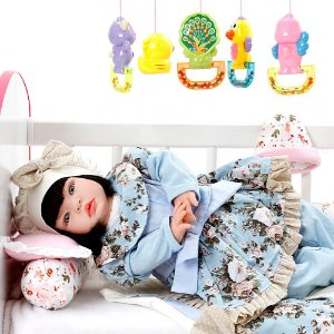 Boneca Bebe Reborn Lavinia Azul Bebe Cegonha Reborn Dolls Mais 22 Acessórios 53cm