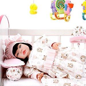 Boneca Bebe Reborn Moana Rosa Ursinhos Cegonha Reborn Dolls Mais 22 Acessórios 53cm