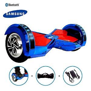 "Hoverboard 8"" Azul Cromado Hoverboard Bateria Samsung Bluetooth Smart Balance Com Bolsa"