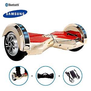 Hoverboard 8 Dourado Cromado Hoverboard Bateria Samsung Bluetooth Smart Balance Com Bolsa