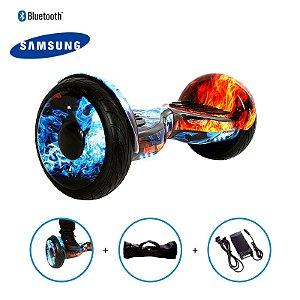 """Hoverboard 10"""" Fogo E Gelo Hoverboard Bateria Samsung Bluetooth Smart Balance Com Bolsa"""