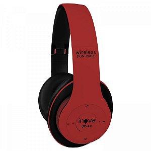 Fone De Ouvido Headset Estéreo Bluetooth Sem Fio FON-2045D - Vermelho - Inova