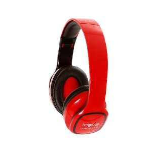 Fone De Ouvido Estéreo Bluetooth Sem Fio FON-8159 - Vermelho - Inova