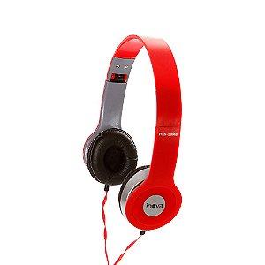 Fone De Ouvido Estéreo Com Fio E Microfone FON-2066D - Vermelho - Inova