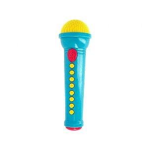 Brinquedo Infantil Microfone Musical Pop Star - Azul - Art Brink