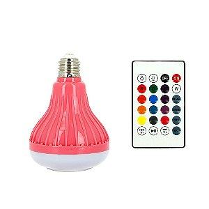 Lâmpada Decorativa Bluetooth Toca Música Com Luz LED RGB Colorido - Rosa - RAD-409Z - Inova
