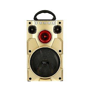 Caixa De Som Móvel Bluetooth Amadeirada Com Luz De LED - Dourada - RAD-1059 - Inova