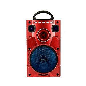 Caixa De Som Móvel Bluetooth Amadeirada Com Luz De LED - Vermelha - RAD-1059 - Inova