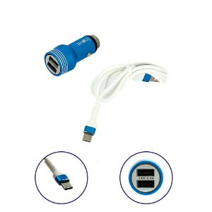 Carregador Para Carro Mega Rápido 3.4A Com 2 Entradas USB Com Cabo Tipo C Azul CAR-G5115 - Inova