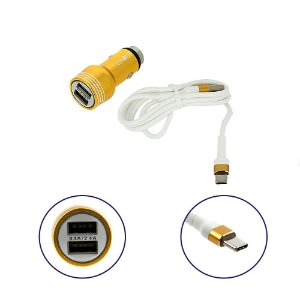 Carregador Para Carro Mega Rápido 3.4A Com 2 Entradas USB Com Cabo Tipo C Dourado CAR-G5115 - Inova