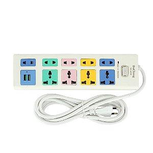Régua Filtro De Linha Extensora De Tomadas Bivolt Com 2 Saídas USB E  9 Saídas De Tomadas - Colorido - A109