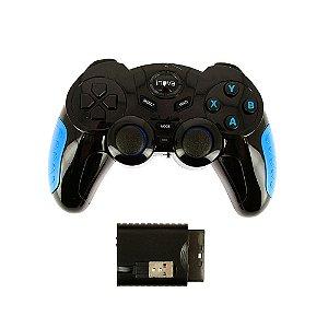 Controle 7 em 1 Bluetooth Sem Fio Gamepad Para Todos Dispositivos- Preto E Azul - CON-7190 - Inova