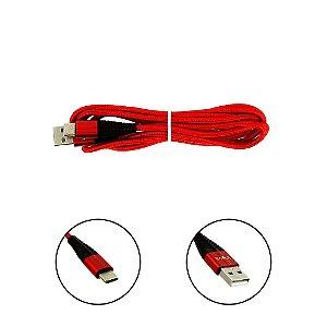 Cabo De Dados USB Super Reforçado Portátil 2 Metros Tipo C Vermelha - Inova