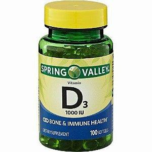 Vitamina D3 25mcg 1000IU 100 Cápsula Em Gel
