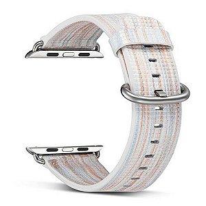 Pulseira Couro Colorido Para Apple Watch 42mm Branco