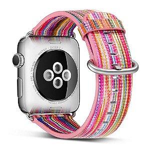 Pulseira Couro Colorido Para Apple Watch 42mm Rosa
