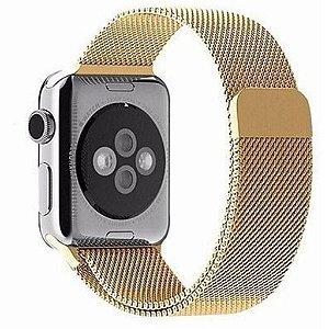 Pulseira Milanese Magnética Para Apple Watch 42mm - Dourado